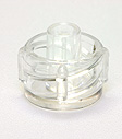 Male non-vented cap, clear. Material: K Resin. Model 1001
