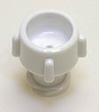Female vented cap, white. Material: Polycarbonate. Model 1014