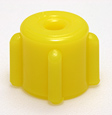 Male non-vented cap, yellow. Material: Polyethylene. Model 1258