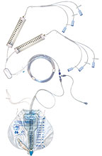 Dialy-Nate® Peritoneal Dialysis Set with Six Luer Connectors and Two Administration Burettes with expandable tubing Warming Coil (used with Baxter® Dialysate Bags). Model 4000547